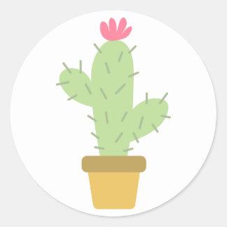 Floral Green Cactus Pink Flower Southwestern Round Sticker