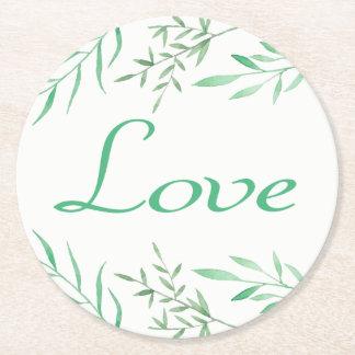 Floral Green Laurel Leaves Wedding Love Round Paper Coaster