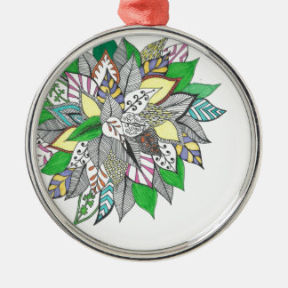 Floral Green Leaf Zentangle Christmas Ornaments