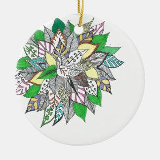 Floral Green Leaf Zentangle Christmas Ornament