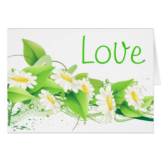 Floral Green Love White Daisies Flowers Card