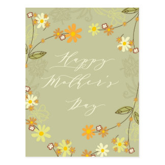 Floral Green Mothers Day Greetings Postcard