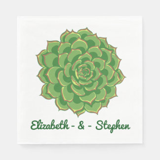 Floral Green Succulent Cactus - Wedding Party Disposable Napkins