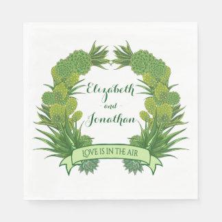 Floral Green Succulent Cactus Wreath Wedding Disposable Napkin
