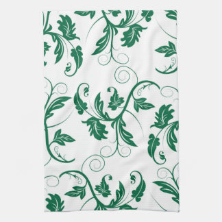 Floral Green Swirl Vine Pattern Kitchen Towel