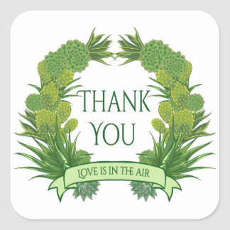 Floral Green Thank You Succulent Cactus Southwest Square Sticker