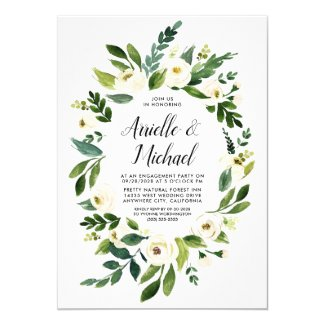 Floral Greenery Ivory Engagement Party Invitations