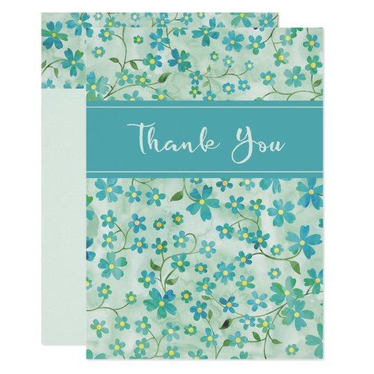 Floral Greenish Blue Flat Thank You Card