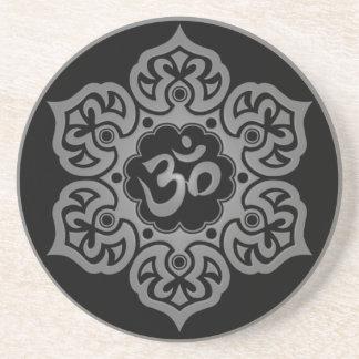 Floral Grey and Black Aum Design Coaster