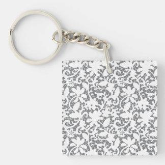 Floral grey pattern keychain