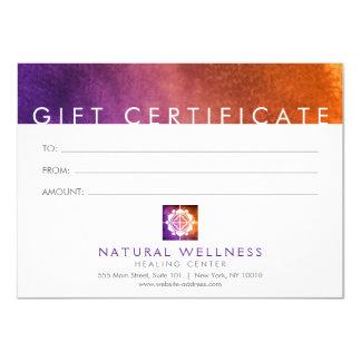 Floral Grid Wellness Logo Purple Gift Certificate Card