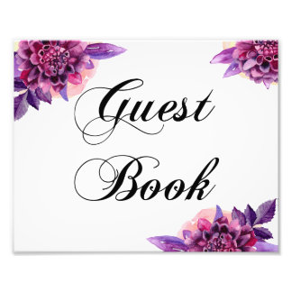Floral guest book sign. Purple wedding poster Photo Print