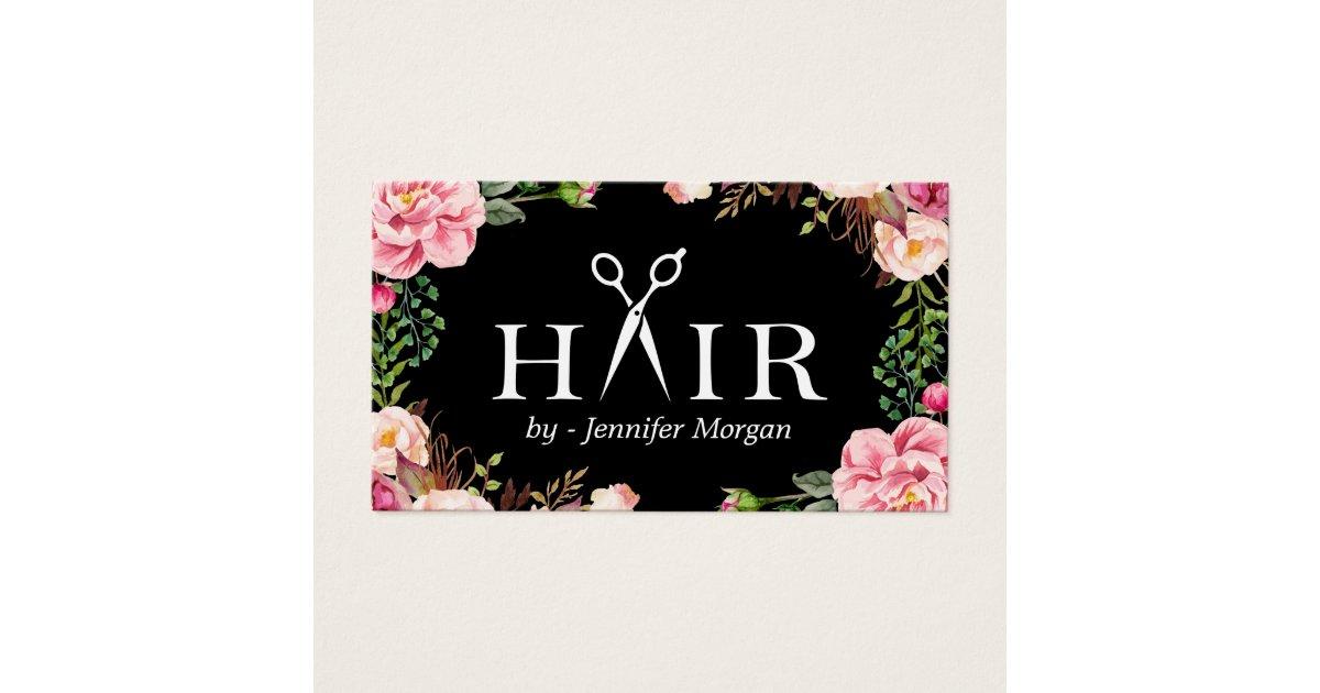 floral hair stylist logo beauty salon appointment business