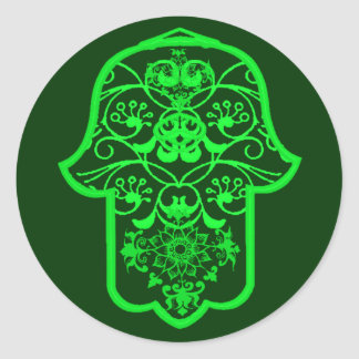 Floral Hamsa (Green) Round Sticker