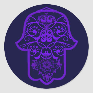 Floral Hamsa (Purple) Round Sticker