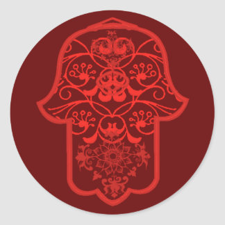 Floral Hamsa (Red) Round Sticker