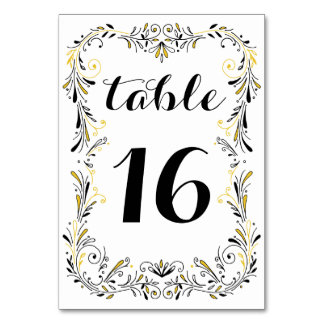 Floral Hand Drawn Black Table Number Card Template
