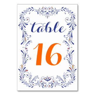 Floral Hand Drawn Blue Orange Table Number Card Table Card