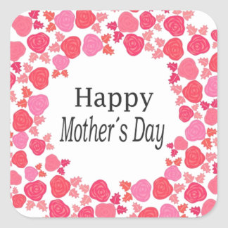 Floral Happy Mothers Day Square Sticker
