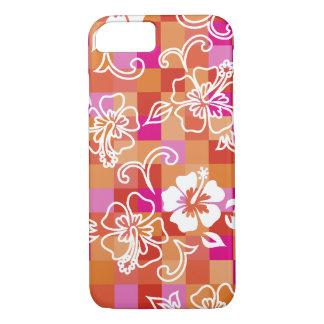 Floral hawaïen de ketmie de damier coque iPhone 7