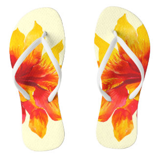 Floral Hawaii Yellow Flip Flops