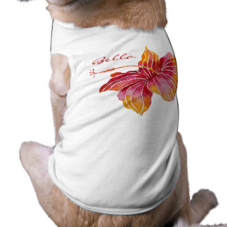 Floral Hawaiian Custom Doggie Ribbed Tank Top