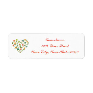 Floral Heart Address Label