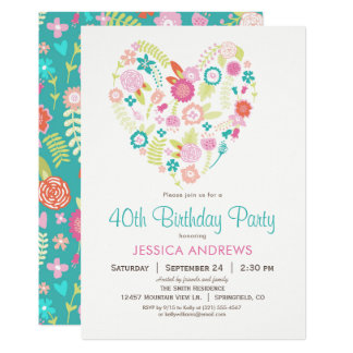 Floral Heart Birthday Party Invitation