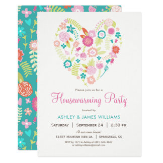 Floral Heart Housewarming Party Invitation
