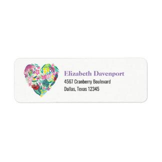 Floral Heart Illustration in Pink and Green Return Address Label
