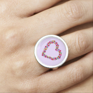 Floral Heart in Lavender Rings