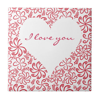 Floral heart in red white with a name tile