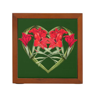 Floral Heart of Gladiola Flowers Desk Organizer