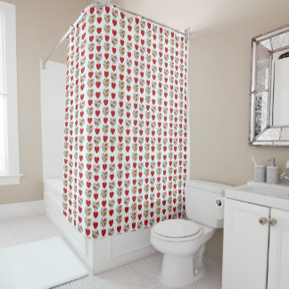 Floral Heart Pattern Shower Curtain
