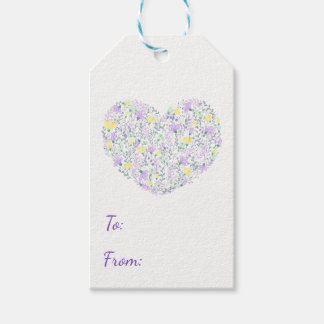 Floral Heart Purple Lavender Flowers Wedding Pack Of Gift Tags