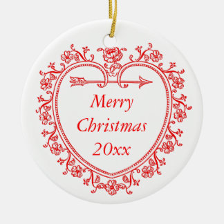 Floral Heart Romantic Christmas Commemorative Year Ceramic Ornament