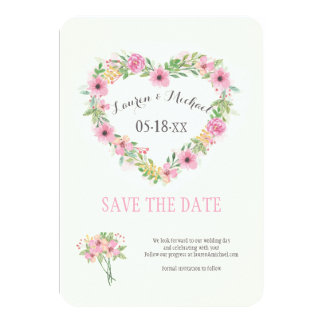 Floral Heart Save The Date Announcement