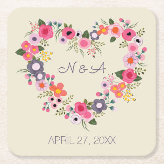 Floral Heart Square Paper Coaster