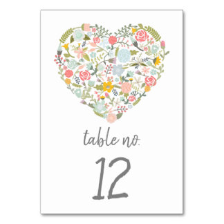 Floral Heart Table Number Card