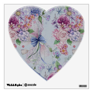 Floral Heart Wall Decal with Blue Bow