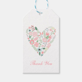Floral Heart Wedding Pack Of Gift Tags