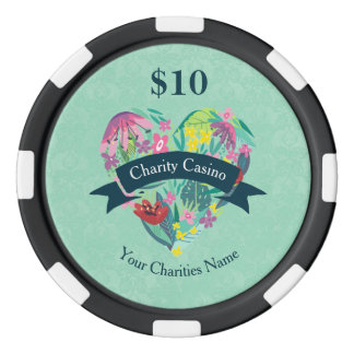 Floral Heart with Tropical Flowers Charity Casino Poker Chip Set