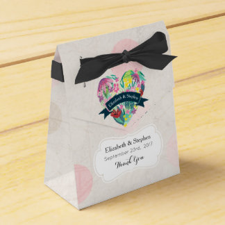 Floral Heart with Tropical Flowers Wedding Thanks Party Favor Box