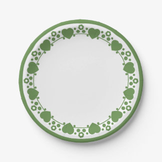 Floral Hearts Green & White Wedding Dot Love Paper Plate