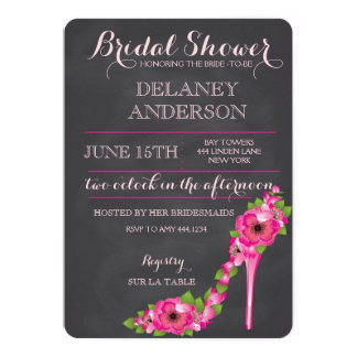 Floral Heel Bridal Shower Bachelorette Invitation