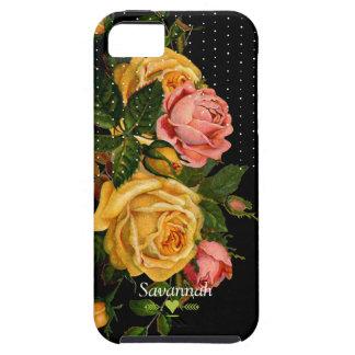 Floral Heirloom Roses Black iphone 5 case