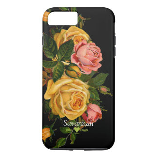 Floral Heirloom Roses Black iPhone 7 case