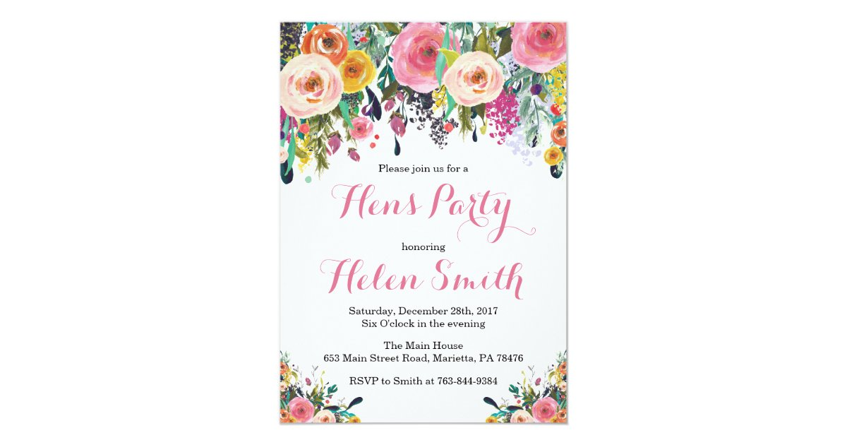 Floral Hens Party Invitation Card Watercolor | Zazzle.ca