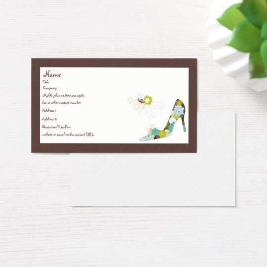 Floral High Heel Shoe Business Card
