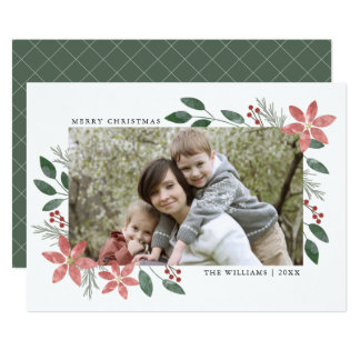 Floral Holiday - Christmas Photo Card